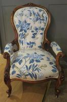 Victorian Walnut Armchair New Upholstery c.1860 (3 of 11)
