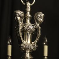 French Silver Gilded Cherub 8 Light Antique Chandelier (7 of 10)