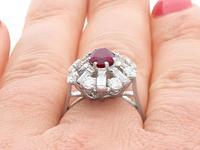 2.02ct Ruby & 1.60ct Diamond, Platinum Cluster Ring - Vintage c.1960 (12 of 12)