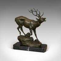 Antique Stag Bronze, French, Deer, Elk, Prosper LeCourtier, Victorian c.1900 (9 of 12)
