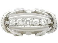 0.42ct Diamond & 18ct White Gold Dress Ring - Vintage Belgian c.1940 (4 of 9)
