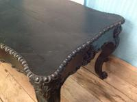 Late 19th Century French Ebonised Ebony Verneer Over Mahogany Hall Table with Carved Floral Pattern Two End Drawers (4 of 8)