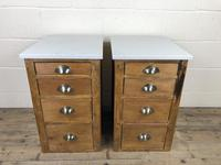 Pair of Pine Bedside Tables with Marble Tops (3 of 10)