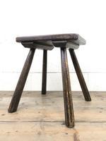 Antique Elm Four Leg Stool (2 of 9)