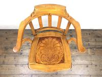 Early 20th Century Beech Smoker's Chair with Pokerwork Seat (M-1591) (7 of 8)