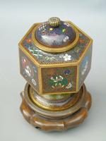 Japanese Cloisonne Lidded Vase on Hardwood Stand (6 of 7)