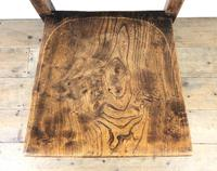 Set of Four Victorian Elm Chapel Chairs (7 of 8)