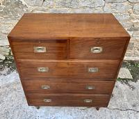 Antique Military Campaign Teak Chest of Drawers (20 of 21)