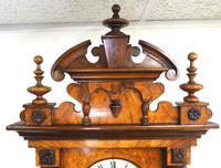 Rare Impressive Antique Burr Walnut 8-Day Twin Weight Striking Vienna Regulator Wall Clock by Gustav Becker (8 of 13)