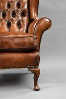 Edwardian Mahogany Hand Dyed Leather Wing Back Armchair (6 of 14)