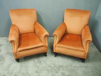 Pair of Victorian Mahogany & Peach Velvet Easy Chairs (4 of 15)