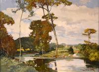 """Oil Painting by Francesco Pablo de Besperato """"A River Landscape"""" (2 of 6)"""