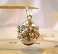 Vintage Pocket Watch Chain Silver Fob 1950s Victorian Revival Stone Set Ball Fob (9 of 9)