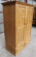 1960s Country Pine 2 Door Wardrobe with Base Drawers and Carved Detail (4 of 5)
