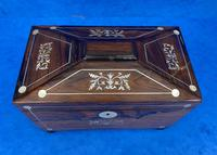 William IV Rosewood Twin Section Tea Caddy with Inlay (9 of 11)