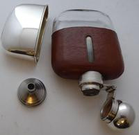 Silver Plated Palm Leather Bound Glass Hip Flask James Dixon 5/16 Pt c.1910 (5 of 12)