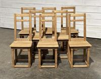 Set of 8 Bleached Oak French Farmhouse Dining Chairs
