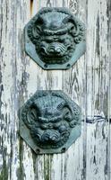 Large Antique Chinese Bronze Foo Dog Foo Lion Door Plates