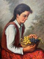 The Fruit Seller - Attractive Original Early 1900s Italian Oil Portrait Painting (2 of 10)