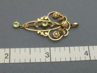 Edwardian 9ct Gold, Peridot & Pearl Pendant (3 of 5)