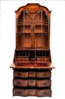 Quality Queen Anne Revival Walnut Bureau Bookcase C.1920 (3 of 6)