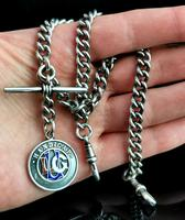 Antique Silver Double Albert Chain, Enamelled Silver Fob, Watch Chain (10 of 13)