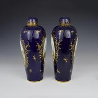 Pair of Large Dresden Porcelain Vases & Covers c.1880 (5 of 12)