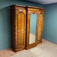 Spectacular Quality Figured Burr Walnut Antique Triple Wardrobe (6 of 10)