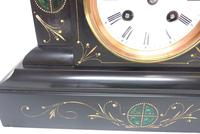 Very Fine French Slate & Marble Mantel Clock Classic 8 Day Striking Mantle Clock (7 of 13)