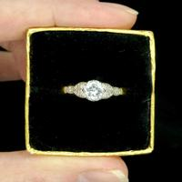 Art Deco 18ct Platinum Old Cut Diamond Solitaire Engagement Ring 0.35ct c.1920 (11 of 11)