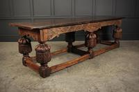 Large 18th Century Carved Oak Dining Table (5 of 21)