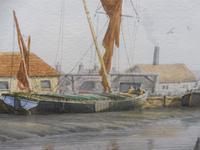 Watercolour Brick wharves near Milton Listed artist Alan Whitehead (Free shipping to Mainland England) (5 of 10)