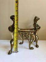 Pair of Vintage Brass Fire Dogs Winged Lions (7 of 10)