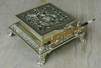 Super Large William Tonks & Sons Phoenix Brass Inkwell with Stamp Tray c.1890 (3 of 12)