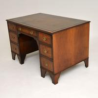 Antique Burr Walnut  Leather Top Desk (4 of 13)