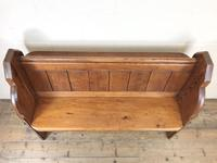 Antique Pitch Pine Chapel Pew with Shaped Sides (4 of 14)