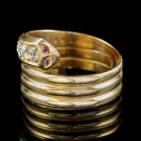 Antique Edwardian Old Cut Diamond Snake Ring 18ct Gold Dated 1916 (2 of 7)