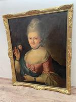 18th Century Oil Painting Portrait Lady In Pink Silk Dress Holding A Rose (7 of 62)