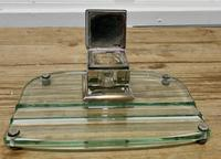Art Deco Glass and Brass Desk Inkwell with Pen Rest (2 of 8)