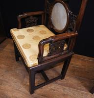 Pair Antique Chinese Armchairs Hardwood 19th Century Seat Chair (3 of 13)