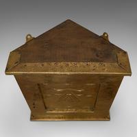 Petite Corner Cupboard, Brass, Mahogany, Wall, Cabinet, Art Nouveau, Victorian (2 of 12)
