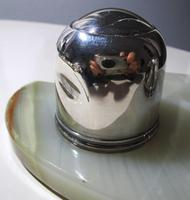 Elegant Art Deco 1927 Solid Sterling Silver & Green Marble Double Inkwell Desk Pen Ink Stand Pots (5 of 9)