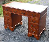 1960s Yew Wood Pedestal Desk with Green Leather Top