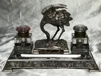 Antique Victorian Silver Plate Crane Bird Inkwell Stand After James Deakin (32 of 37)