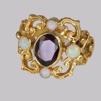 Vintage Garnet & Opal 9ct Gold Victorian Style Ring Ornate Antique Style Ring (5 of 7)