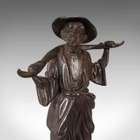 Tall Antique Decorative Figure, Chinese, Bronze, Statue, Water Carrier, C.1900 (3 of 12)