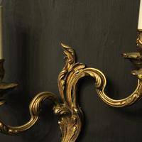French Gilded Brass Twin Arm Antique Lights (10 of 10)