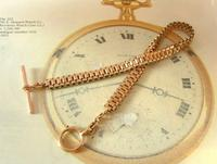 Antique Pocket Watch Chain 1890s Victorian French Large 10ct Rose Gold Filled  Albert