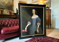 Huge Period Antique 3/4 Length Oil Portrait Painting of 17th Century Lady (2 of 13)