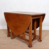 Oak Gateleg Dining Table Carved Solid Folding Kitchen Table (12 of 15)